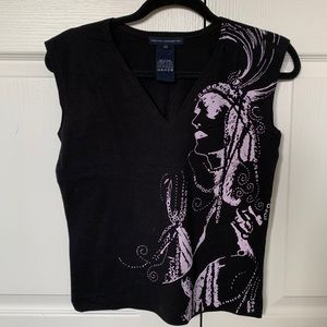 French Connection black vneck graphic top size M